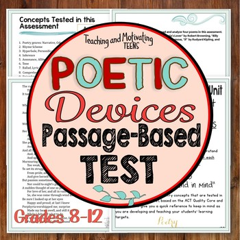 Poetic - Literary Devices Poetry Test, Multiple Choice w/ Passages CCSS ELA 8-12