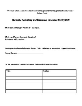 Poetry Unit: Thematic Anthology with Figurative Language I