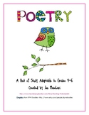 Poetry Unit for 4th - 6th Grade