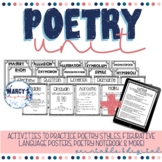 Poetry Unit for 4th grade & 5th beginning of year ela acti