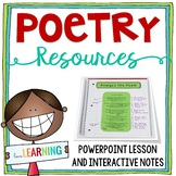 Poetry Unit: PowerPoint Lesson, Interactive Notebook, Anal