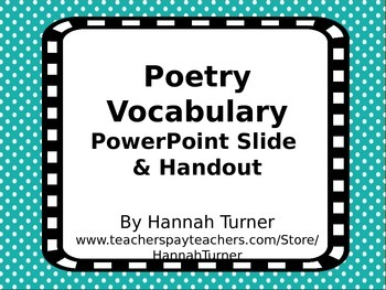 Poetry Vocabulary PowerPoint Slide and Handout