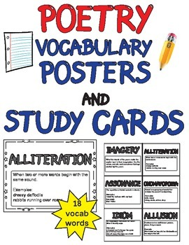 Poetry Word Wall Vocabulary (18 posters and study cards) Grades 3-6