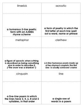 Poetry Vocabulary Bingo