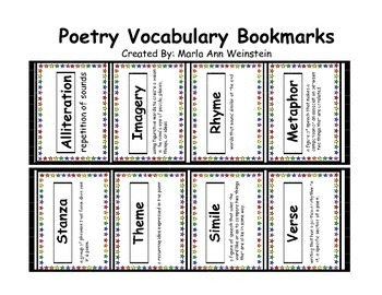 Poetry Vocabulary Bookmarks
