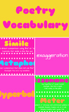 Poetry Vocabulary Bundle: Word Wall, Matching Game, Notes Page, Quiz & Key