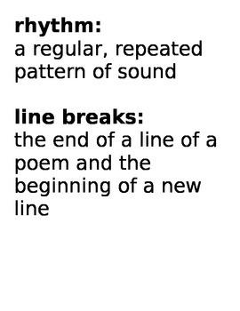 Poetry Vocabulary Card Printables