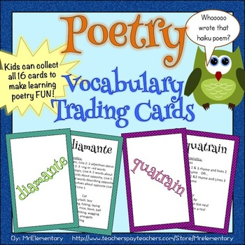 Poetry Trading Cards and Activities