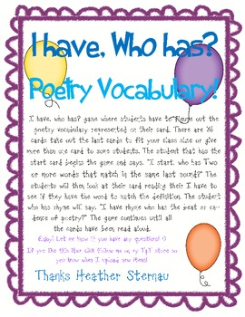 Poetry Vocabulary - I have, Who Has?