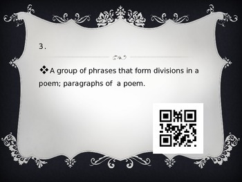 Poetry Vocabulary QR Task Cards