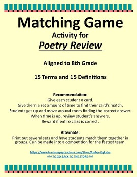 Poetry Vocabulary Review Game