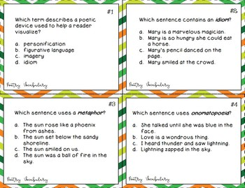 Poetry Vocabulary and Figurative Language Task Cards
