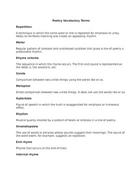 Poetry Vocabulary Terms and Test