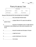 Poetry Vocabulary Test (part 2)