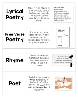Poetry Vocabulary Word Card Sort