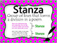 Poetry Vocabulary Word Wall, Full Page and Half Page Posters -Hot Pink and Green