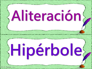 Poetry Vocabulary Word Wall-Full Page and Half Page Posters-Poesia Spanish