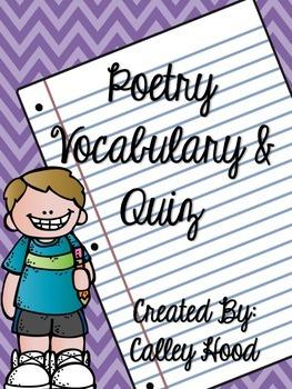 Poetry Vocabulary and Quiz