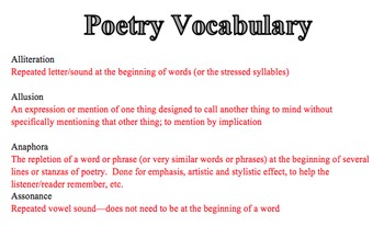 Poetry Vocabulary and Three Quizzes