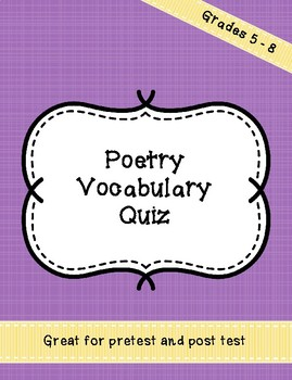 Poetry Vocabulary test - pretest - posttest