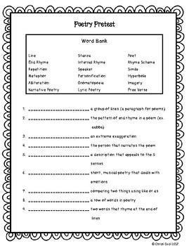 Poetry Vocabulary test - pretest - posttest