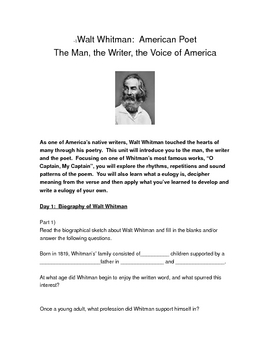 Poetry:  Walt Whitman Bio, Poem study and Wtg Activity