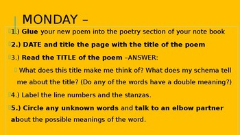 Poetry Warm Up-- PPT.