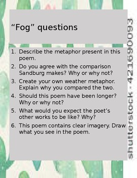 Poetry Warmup Questions