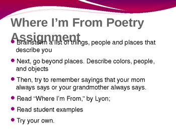 Poetry: Where I am From Poems