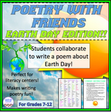 Collaborative poetry activity, Earth Day, poetry writing activity