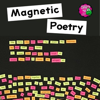 Poetry Word Magnet Basic Word Templates for Writing Center