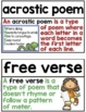 Poetry Word Wall ~ 28 Reading Poetry Posters, Word Wall Cards, or Flashcards