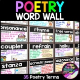 Poetry Word Wall Cards, Types of Poetry & Elements of Poetry Vocabulary Posters
