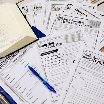 Poetry Worksheets Analysis & Comprehension for Any Poem, NO PREP