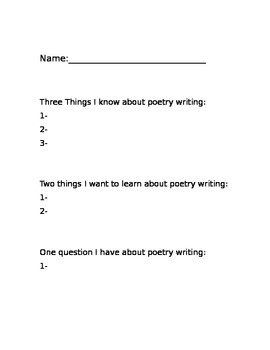 Poetry Writers Workshop Lesson Plans