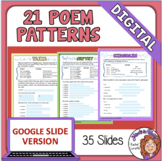 Poetry Writing 21 Poem Patterns Google Classroom Version f