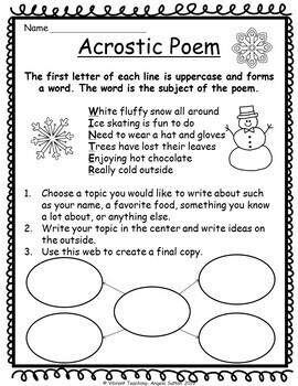 Poetry Writing: Acrostic Poems (Activities, Templates and Writing Paper)