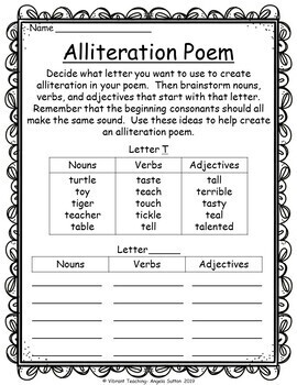 Poetry Writing: Alliteration Poems (Activities, Templates, and Writing Paper)
