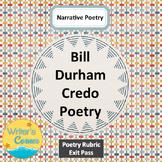 Bill Durham Narrative Poetry, CCSS, Creative Writing, Sub Plan, Fun