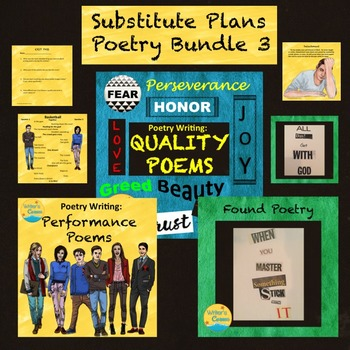 Substitute Plans Poetry Writing Bundle 3, Group Reading, Found, Love/Hate
