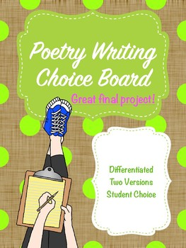Poetry Writing Choice Board