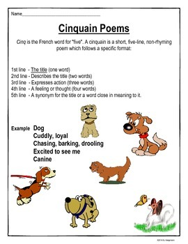 Poetry Writing - Cinquain Poem Student Hand-Out