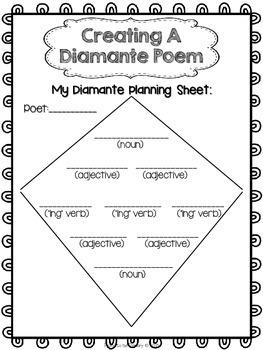 Unforgettable image with diamante poem template printable
