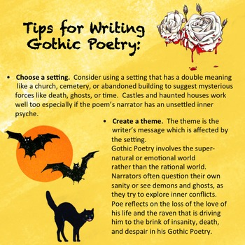 Reading and Writing Gothic Poetry, Substitute Plan, Poetry Rubric, Poe Week Fun