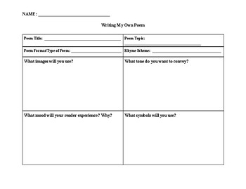 Poetry Writing Graphic Organizer and Rubric