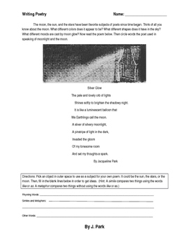 Poetry Writing Lesson w/ Sample Poem & Writing Prompt (Similes Metaphors Rhymes)