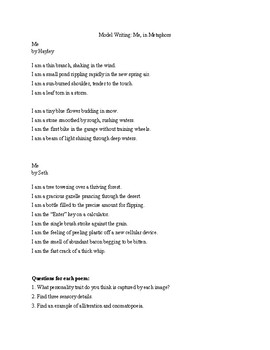Poetry Writing: Me, in Metaphors. With Directions, Prewriting, Models, Rubric