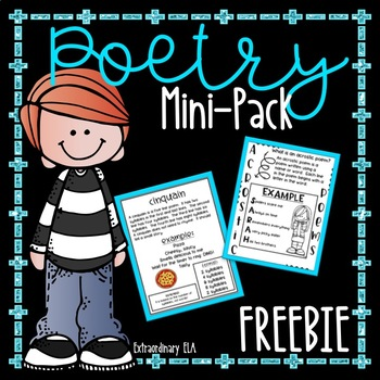 "Poetry Writing Mini-Pack (Acrostic, ""I Am"" Poem, Cinquain) FREEBIE"