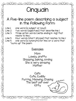Poetry Writing Pack: Defining and Writing 8 Styles of Poetry