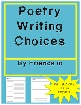 Poetry Writing Paper Choices Packet